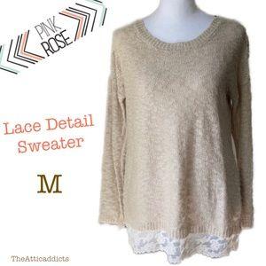 Rose sz M women's Summer Sweater Top   Lace Detail
